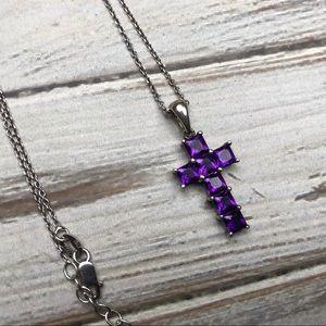 Jewelry - Sterling silver purple rhinestone cross necklace
